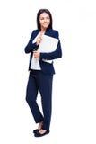 Полнометражный портрет коммерсантки с компьтер-книжкой Стоковое фото RF