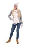 Полнометражный портрет милой красивой женщины в зиме одевает I Стоковое фото RF
