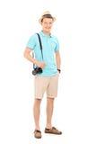 Полнометражный портрет молодого мужского туриста Стоковые Изображения RF
