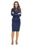 Полнометражный портрет счастливой бизнес-леди Стоковые Изображения RF