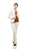 Полнометражный портрет счастливой бизнес-леди Стоковая Фотография RF