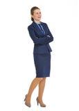 Полнометражный портрет усмехаясь бизнес-леди Стоковые Фотографии RF