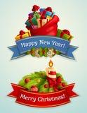 полностью архив элементов цвета cmyk рождества знамени легкий editable наслоил отдельно установленный режим сетки используемым иллюстрация штока