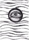 Полностью видя чертеж чернил глаза абстрактный Стоковая Фотография