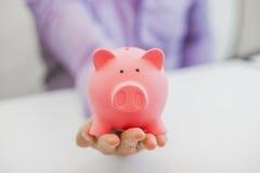 полностью привлекательный бизнесмен банка предпосылки держа piggy белизну Стоковое фото RF