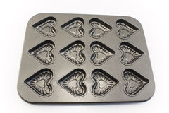 Поднос выпечки печений в форме сердца Стоковые Фото