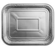 Поднос пищевого контейнера фольги изолированный на белом взгляд сверху Стоковое Изображение RF