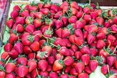 Поднос свежих зрелых красных клубник Стоковые Изображения RF