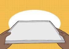 Поднос сервировки над желтым цветом иллюстрация вектора
