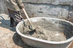 Поднос смешивания бетона и гипсолита Стоковое Изображение