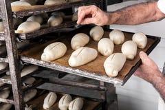 Поднос хлеба для печь в печи Стоковая Фотография