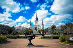 Полно- взгляд квадрата Джексона в Новом Орлеане, Луизиане Стоковые Фотографии RF