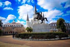 Полно- взгляд квадрата Джексона в Новом Орлеане, Луизиане Стоковое Фото