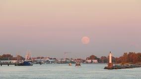 Полнолуние, гавань Steveston Стоковые Изображения RF