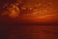 полнолуние над морем Стоковые Фото