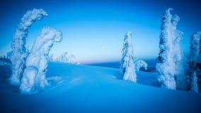 Полнолуние над снежными горами Стоковое Изображение RF