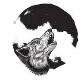 полный волк луны завывать Стоковые Фотографии RF