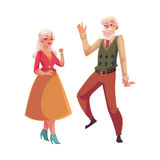 Полный портрет высоты старых, старших пар танцуя совместно Стоковое Фото