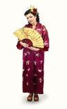 Полный портрет роста женщины кавказца кимоно стоковое фото rf
