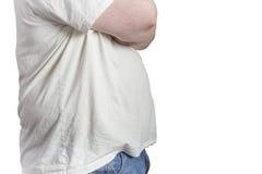Полный человек в голубых джинсах и белой рубашке Стоковое Изображение
