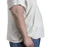 Полный человек в голубых джинсах и белой рубашке Стоковая Фотография RF