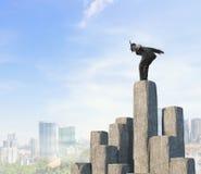 Подныривание бизнесмена от верхней части Мультимедиа Стоковое фото RF