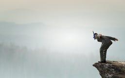 Подныривание бизнесмена от верхней части Мультимедиа Стоковое Фото