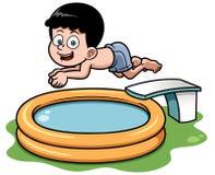 Подныривание мальчика шаржа в бассейне иллюстрация штока