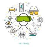 Подныривание VR - линия искусство Стоковое Изображение RF
