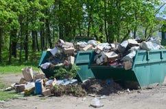 2 полных контейнера с отходом домочадца Стоковое Фото