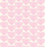 Подняла богато украшенная безшовная картина с кружевными сердцами Стоковое Изображение RF