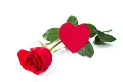 Подняла и карточка сердца Стоковое Изображение