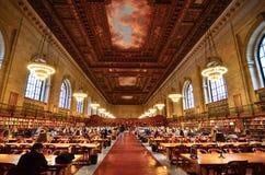 Подняла публичная библиотека Yok главного читального зала новая Стоковое Фото