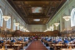 Подняли главным образом читальный зал и потолок в публичной библиотеке Нью-Йорка, NYC Стоковое Изображение