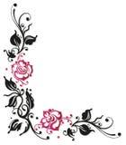 Подняли, цветки, граница Стоковое Изображение
