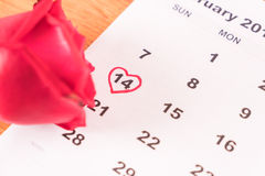 поднял на календарь с датой da валентинки 14-ое февраля Стоковые Фотографии RF
