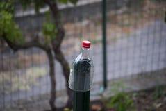 Половина бутылки любимчика с красной крышкой Стоковое фото RF