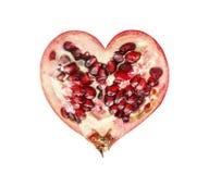 Половина гранатового дерева в форме сердца Стоковые Изображения