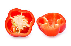 Половина свежего сладостного красного перца pepperBell изолированного на белом ба Стоковое Изображение RF
