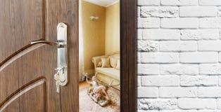 Половинная открыть дверь современного крупного плана живущей комнаты Стоковое Фото