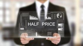 Половинное цена, интерфейс Hologram футуристический, увеличенная виртуальная реальность сток-видео