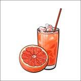 Половинные грейпфрут и стекло свеже сжиманного сока с льдом бесплатная иллюстрация