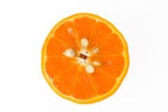 Половинный апельсин на белой предпосылке Стоковое Изображение