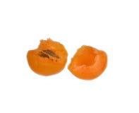 2 половины абрикоса Стоковые Изображения