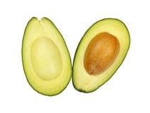 2 половины авокадоа изолированной на белизне Стоковые Изображения