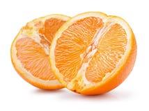 2 половины апельсина изолированной на белой предпосылке Стоковая Фотография