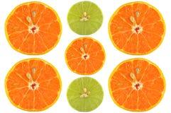 Половины апельсина и известки Стоковое Фото
