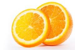 Половины апельсина на белой предпосылке Стоковое Изображение