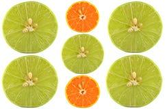 Половины известки и апельсина Стоковое Изображение
