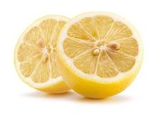 2 половины лимона изолированной на белой предпосылке Стоковая Фотография